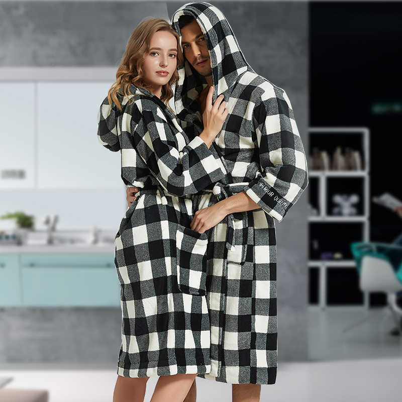 6a448020c4 Flannel Bathrobe Men Robe Male With Hooded Thick Dressing Gown Pajamas  Men s Bathrobe Winter Long Plus
