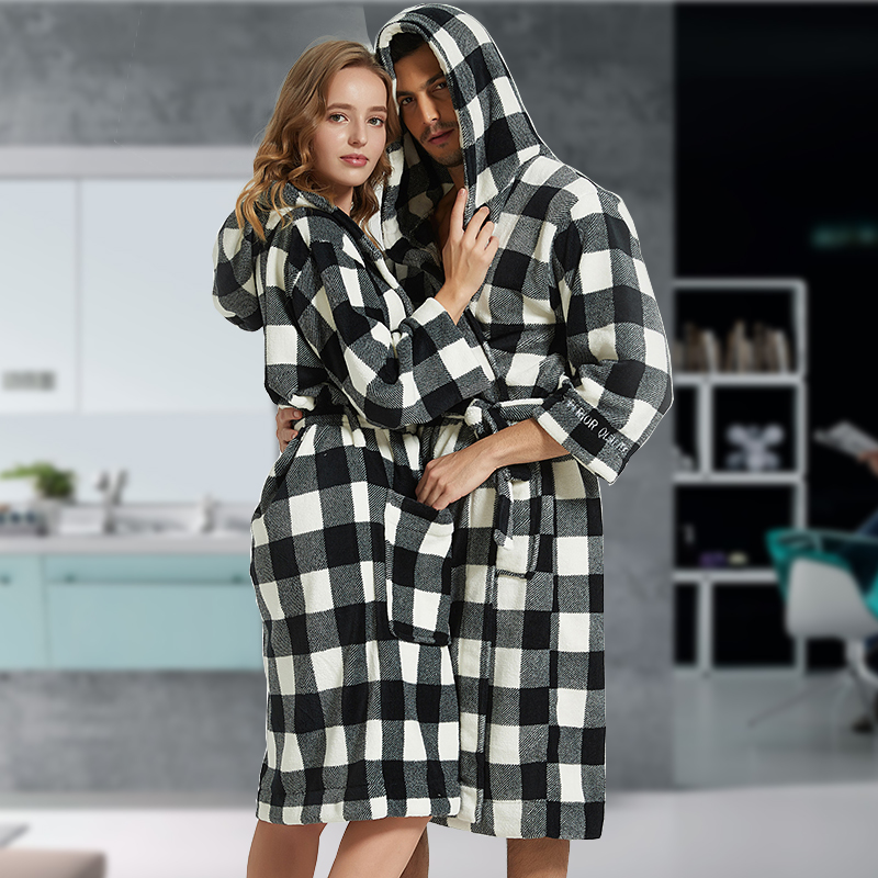 Flannel Bathrobe Men Robe Male With Hooded Thick Dressing Gown Pajamas Men's Bathrobe Winter Long Plus Size XXL Bridesmaid Robes