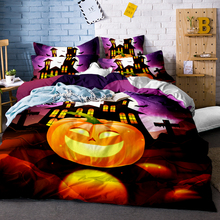 Happy Halloween Bedding Set for Kids 3Pcs Funny Gift 3D Duvet Cover Pumpkin Decor Bed Linens Twin Full Queen King Size