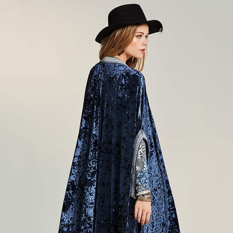 44878d997623 Bohoartist Winter Frauen Lange Mantel Frauen Bohemian Cardigan Trenchcoat  Farbe Block Weiblichen Samt Patchwork Mantel Kostenloser Versand