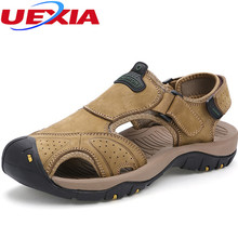 2017 Summer New Fashion Toe Protection Sandals Men Shoes Beach Casual Leather Beach Sport Sandals High Quality Sandalias Hombre