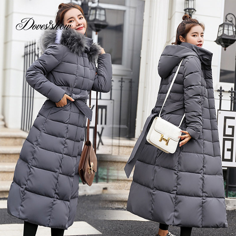 Hooded Fur Collar Winter   Down     Coat   Jacket Long Warm Women Cotton-padded Casaco Feminino Abrigos Mujer Invierno Parkas Outwear