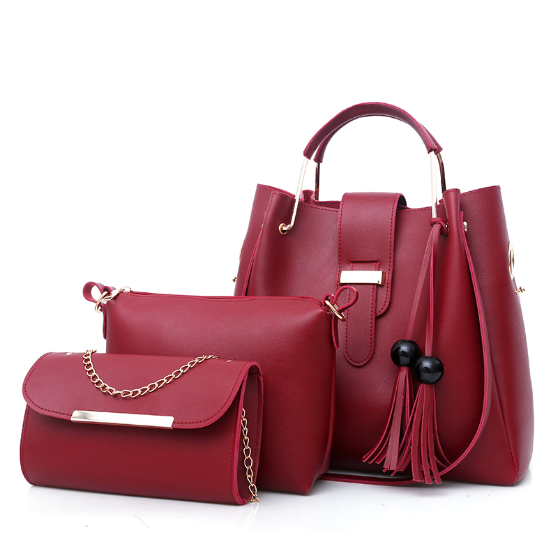 3pcs/Set Design Tassel Women PU Leather Tote Shopper Bag Top-Handle Handbags Ladies Female Fringed Shoulder Messenger Bags