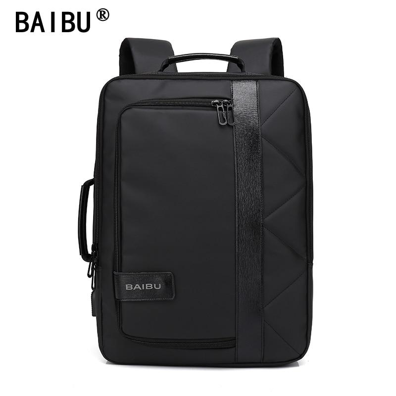 BAIBU Business Laptop Backpack 14 15.6 inch Casual Men Travel Backpack Multifunctional Linen School Backpack For Teenagers