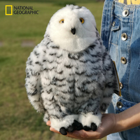 National Geographic 10 Cute Lovely snow Owl White Black Furry Christmas Bird Ornament Decoration Adornment Simulation