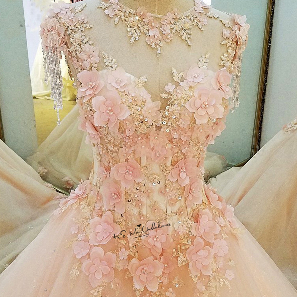 Diamond Tulle Vintage Wedding Dress 2018 Vestidos De Noivas Pearls Flowers Pink Bride Dresses Custom Made Princesa Wedding Gowns