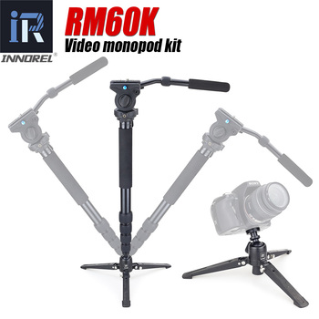 INNOREL RM60K cámara profesional monopié Kit de aluminio de vídeo-monopié Base Mini trípode de mesa con cabezal de vídeo fluido Unipod titular