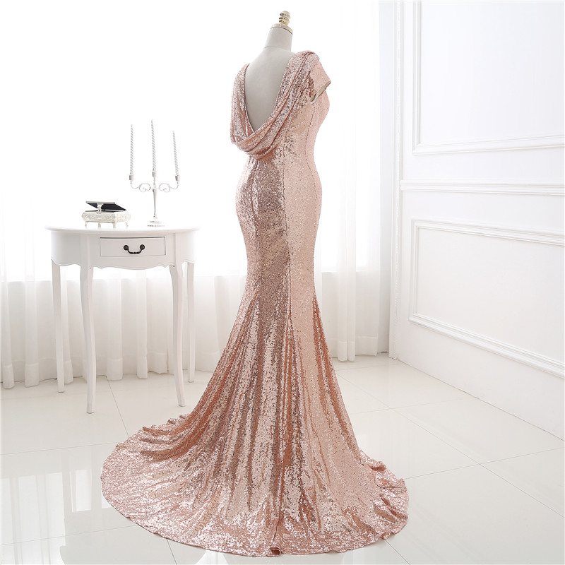 Mermaid Blush Pink Sequins Bridesmaid Dresses Short Sleeves Rose Gold Sequin Wedding Party Dress Maid Of Honor Gowns B138 In From