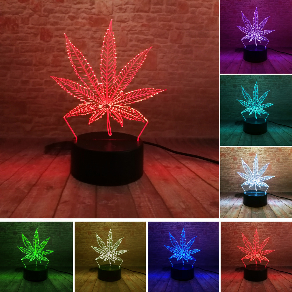 Beautiful 3D Illusion LED Lamp with Maple Leaf Shape Night Lamp as Friends & Holiday Gifts Toy Flash Party Atmosphere Nightlight
