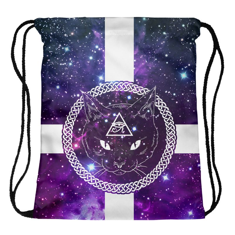 Fashion Unisex Prints Drawstring Rope Backpack Bag For Daily Travel Use