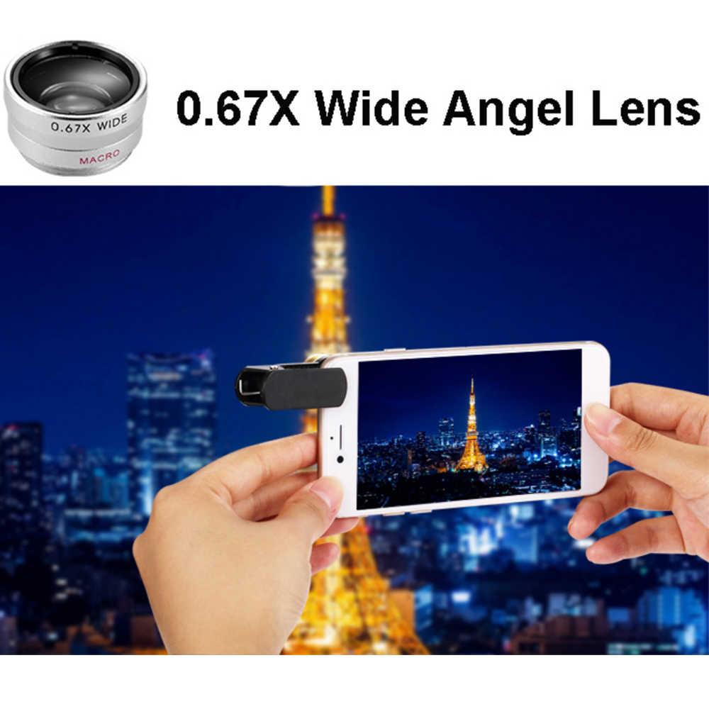 Clip universel 3 in1 téléphone portable caméra HD oeil de poisson Macro grand Angle objectif pour iPhone 7 8 6 6s Plus X pour Samsung Xiaomi Huawei