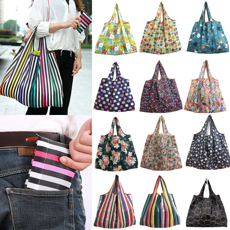 NoEnName 1PC Foldable Handy Shopping Bag Reusable Tote Pouch Recycle Storage Handbags New Large Travel Shopping Tote Grocery Bag