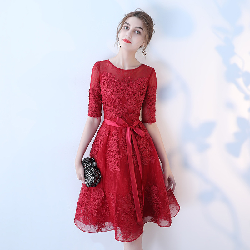 Classic Red Women Toast Clothing Summer Sexy Lace Slim Cheongsam Half Sleeve Flower Evening Party Dresses Celebrity Banquet Gown