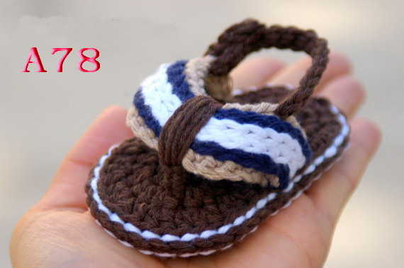 9cc144496 Crochet Baby Shoes Sandals Flip Flops brown Infant Boys size 0 12M ...