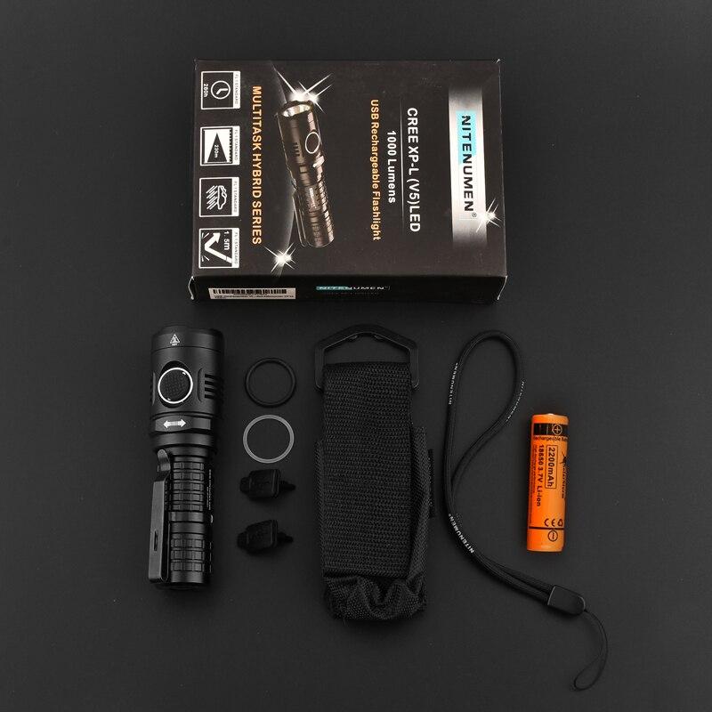 1000 люменов многофункциональный EDC фонарик USB Перезаряжаемый мини светодиодный брелок Портативный УФ фонарик - 6