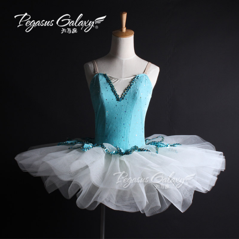 Blue Pancake Professional Ballet Leotard Tutu Dance Dress Women Sequins Stage Show Ballet Costume Adults Classical Ballet Dress