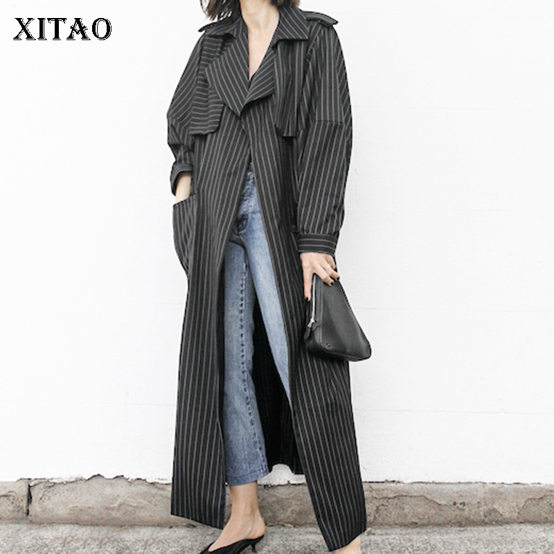 [XITAO] 2018 Spring New Korea Vintage Women Striped Single Breasted Bandage Coats Female Full Sleeve Wide-waisted   Trench   LJT1057