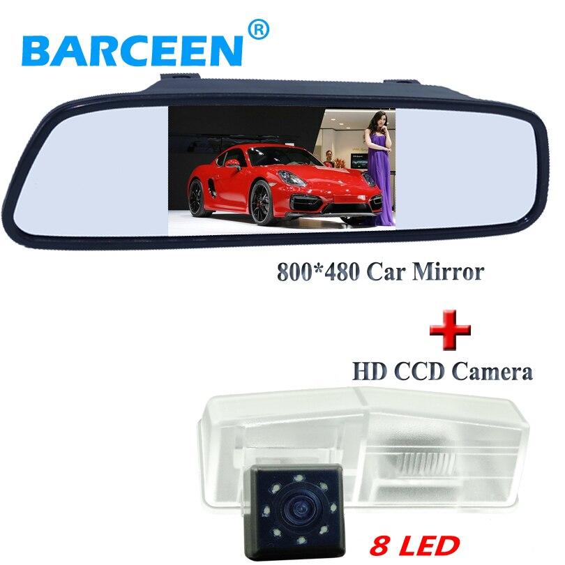 Suiperior качество Автомобильная камера заднего вида стеклянные линзы материал 8 светодиодов с 4,3 улучшенная автомобильный зеркальный монитор черный корпус для Toyota RAV4