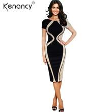 Kenancy Fashion 3XL Plus Size 4 Color Apricot Hourglass Color Block Office  Ladies Vestidos Patchwork Half Sleeve Work Dress Slim a47e2638ea1b