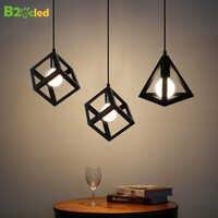 B2OCLED colgante luz creativo Estilo Vintage lámpara LED Plaza triangular de hierro lámpara loft lámpara de esquina para la decoración de la casa