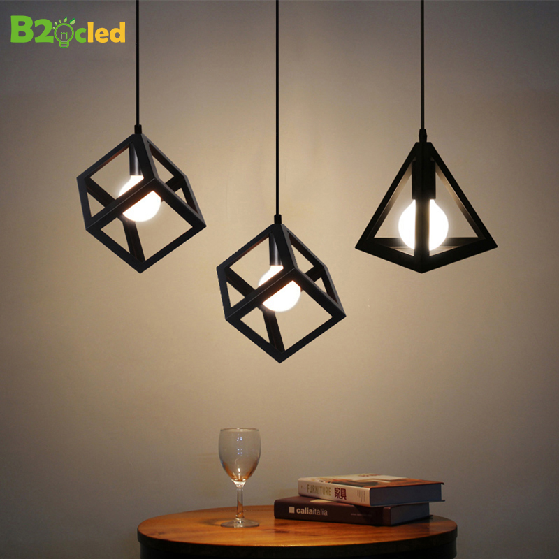 B2OCLED Pendant Lights Creative Vintage Cutout LED Lamp Square Triangular Iron Lampshade Loft Droplight Home Bar Decoration