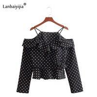 Lanbaiyijia горошек ремень рубашка Повседневное Для женщин рубашки с длинными рукавами и оборками с открытыми плечами лоскутные модные свободны
