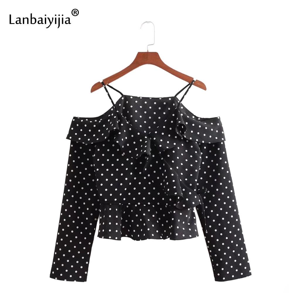 Lanbaiyijia Polka Dot pasek koszula na co dzień kobiety koszula z długim rękawem Ruffles off ramię patchwork moda luźne letnie koszule w Bluzki i koszule od Odzież damska na  Grupa 1
