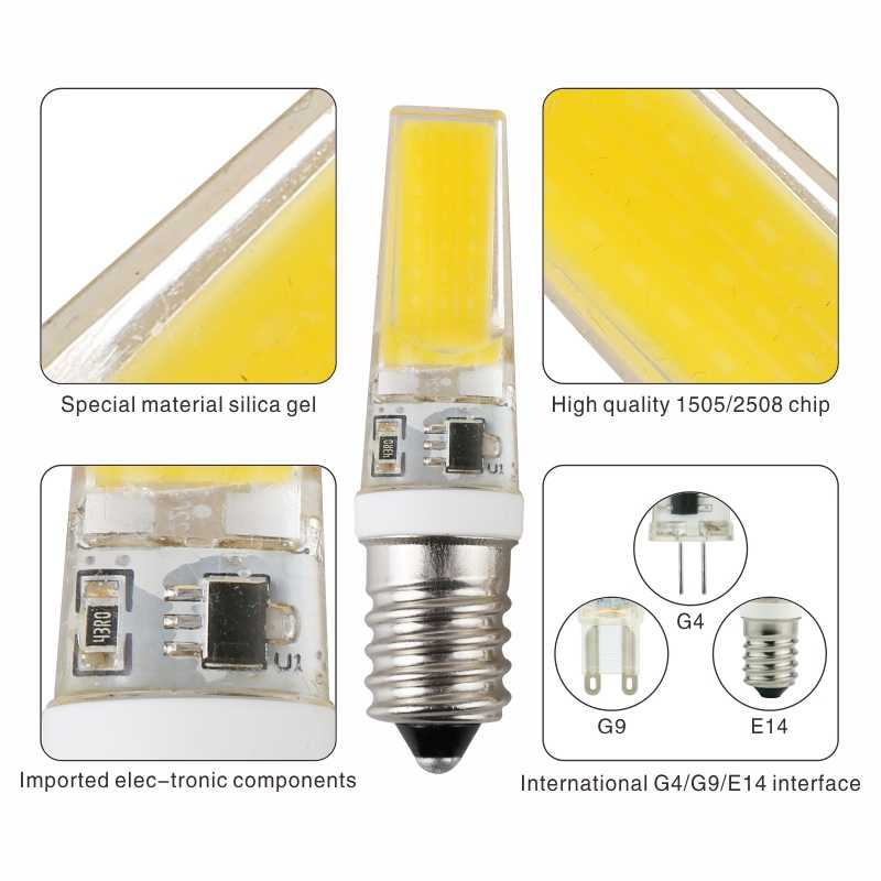 LARZI LED G4 G9 E14 Lamp Bulb AC/DC Dimming 12V 220V 3W 6W 9W COB SMD LED Lighting Lights replace Halogen Spotlight Chandelier