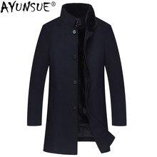 AYUNSUE зимняя куртка Для мужчин натурального меха норки пальто Натуральная шерсть пальто Для мужчин s норки меховой воротник длинные куртки кашемировая одежда 2018 MY772