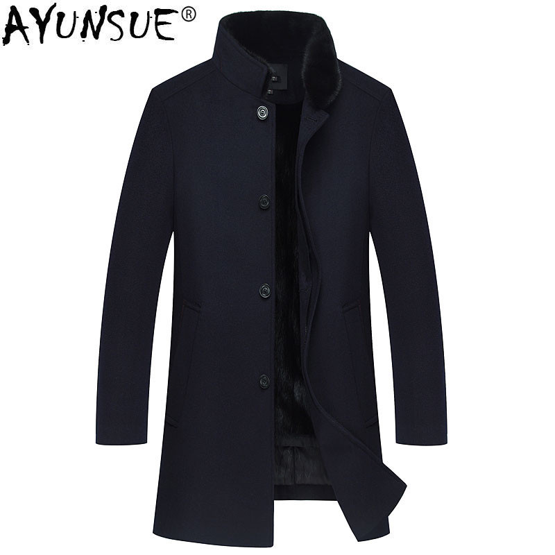 AYUNSUE Winter Jacket Men Natural Mink Fur Coats Natural Wool Coat Mens Mink Fur Collar Long Jackets Cashmere Clothes 2018 MY772