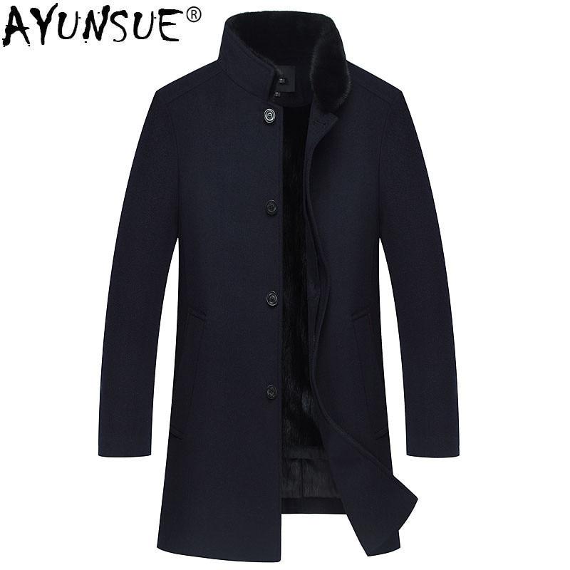 AYUNSUE invierno chaqueta hombres Natural Mink abrigos de piel Natural para hombre abrigo de lana Cuello de piel de visón chaquetas de Cachemira ropa 2018 MY772