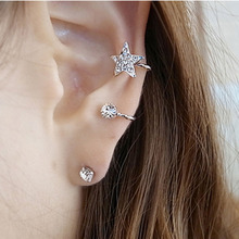 2019 New Korean Sweet Girl Shining Crystal Round Stud Earrings For Women Trendy Gold Silver Stars Wedding Jewelry Gifts