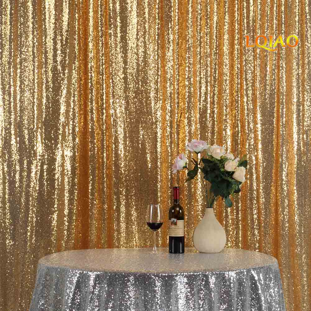 Perfectly 10FTx10FT Glitter Gold Sequin Fabric Background Photobooth Backdrop Gold Wedding Curtain For Christmas/Wedding Decor