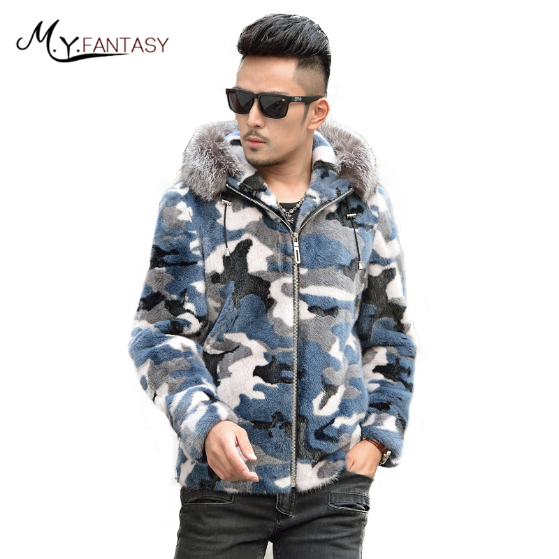 Jacket Coat Mink-Fur-Coats Long-Sleeve USA Real-Fur Zipper with Hat Blue Camouflage M.Y.FANSTY