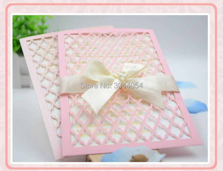 Pocketfold Wedding Invitations Wholesale: Nice Pink Pearl Paper Wedding Invitation Cards Wholesale