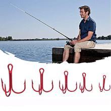 100PCS/Bag High Carbon Steel Fish Hook Barbed Crank 3 Anchors Treble Hooks Professional Ocean Fishing Accessories