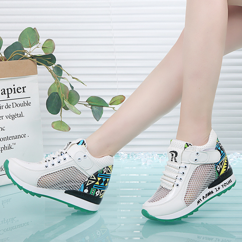 2019 spring and summer new women's shoes increased net shoes wild breathable mesh surface hollow leisure sports wedge 11