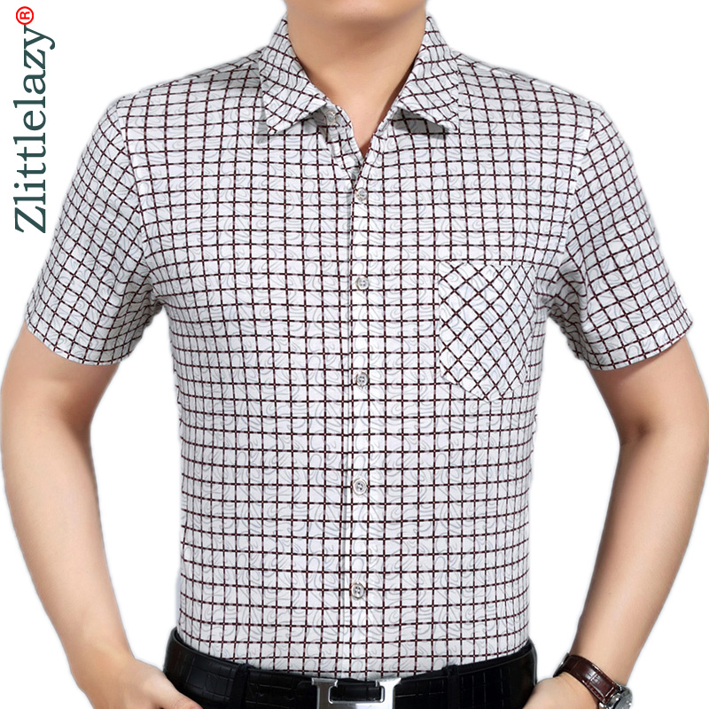 2019 Slim Fit Plaid Men Shirt Casual Social Pocket Short Sleeve Summer Shirts Mens Clothing Dress Streetwear High Quality 8161