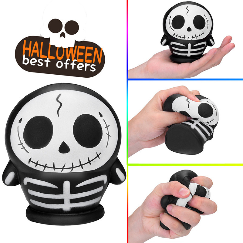 1pc Halloween Skulll Scented Squishies Slow Rising Kids Toys Stress Relief Hop Props Squirrel Swipes Anti-stress For Kid A1