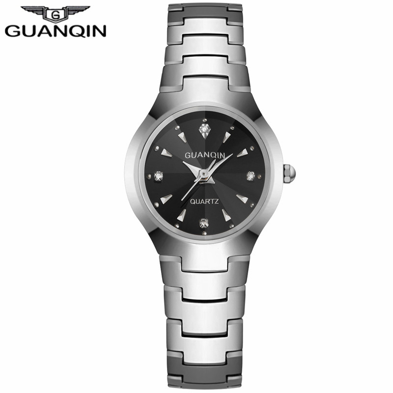 ФОТО GUANQIN GQ30018 Watches Business Luxury Tungsten Steel Quartz Watch Date Analog Display women's Bracelet Watch relogio masculino