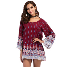 Plus size 3XL WOMEN Clothing 2018 summer long sleeve beach mini dress floral print vintage Straight flare hippie boho Sundresses