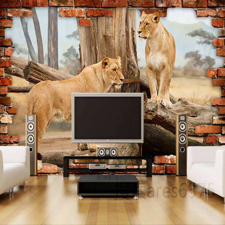 3D Lion Wallpaper Custom photo wallpaper Animal Wall Mural ...
