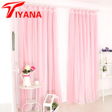 Quality Korean Rose Lace Shade Cloth Curtain + Voile Curtain for Living Room Girl's Room Finished Curtains Accept Customized Z30