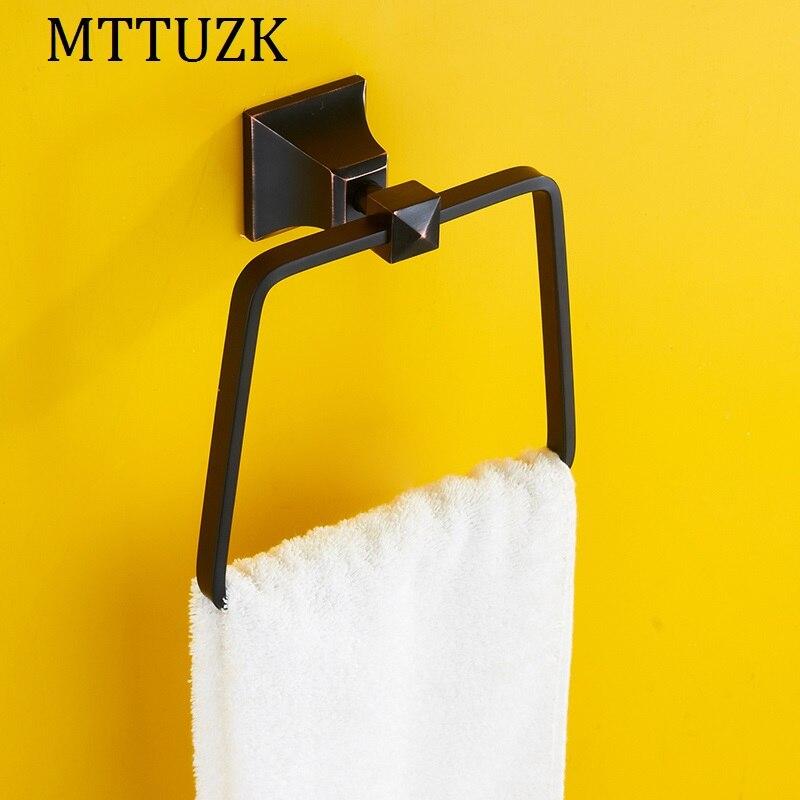 MTTUZK Oil Bubbed Bronze Square Towel Ring European Wall Mounted Bathroom Bath Towel Rack Bathroom Accessories