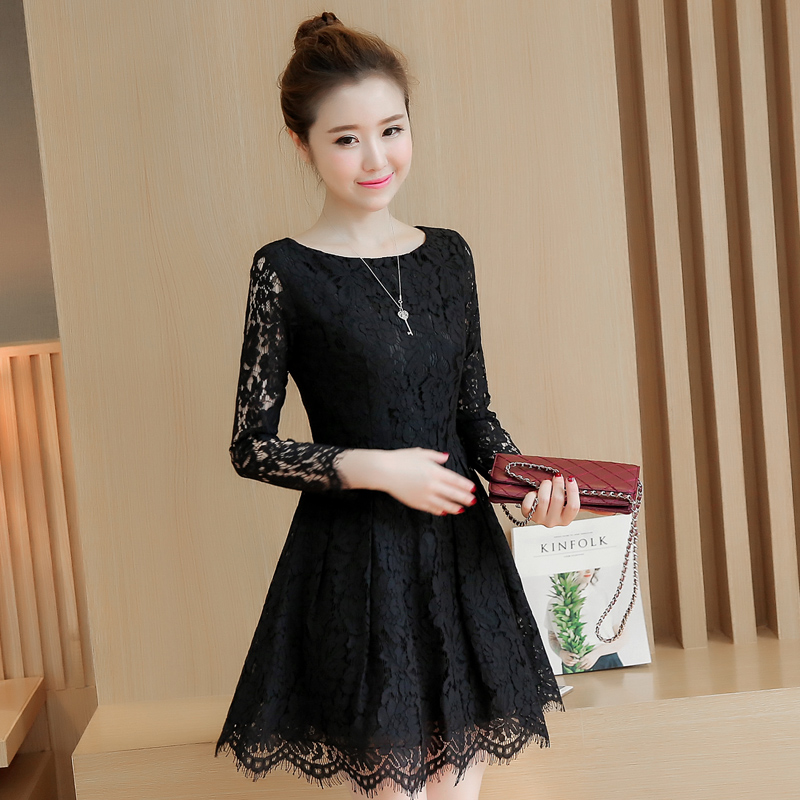 533915eecf1 Spring Autumn Lace Dress 2018 New Korean Fashion Mini Vestidos Women Long  Sleeve Temperament Red Lace Dresses Black