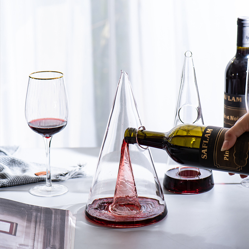 Decanter Handmade Crystal Red Wine Brandy Champagne Glasses Pyramid Decanter Bottle Jug Pourer Aerator For Family Bar
