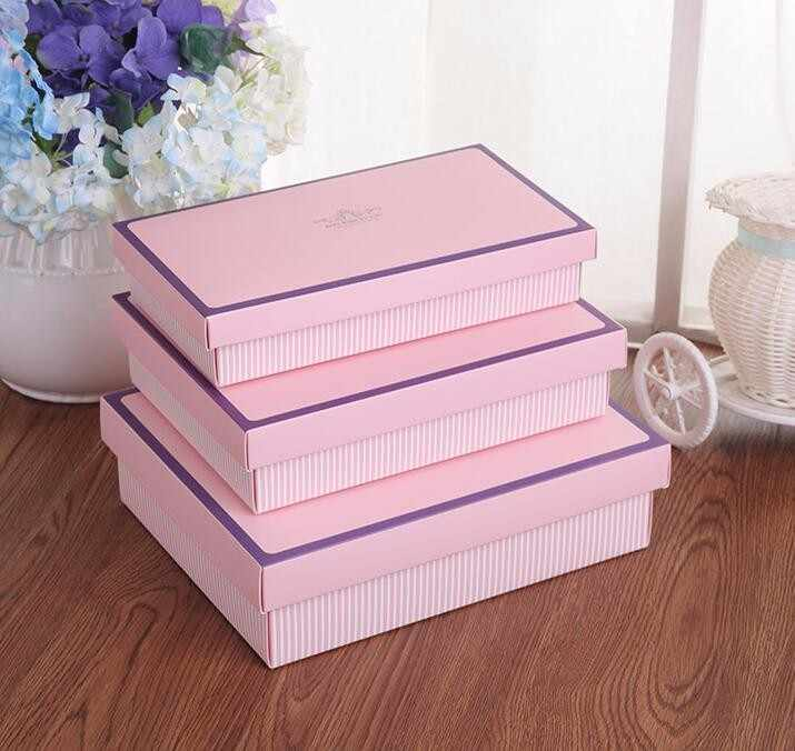 24.3*13.5*4.5cm Large Pink Exquisite socks packaging box and underwear cosmetic packing stripe gift box with lid big