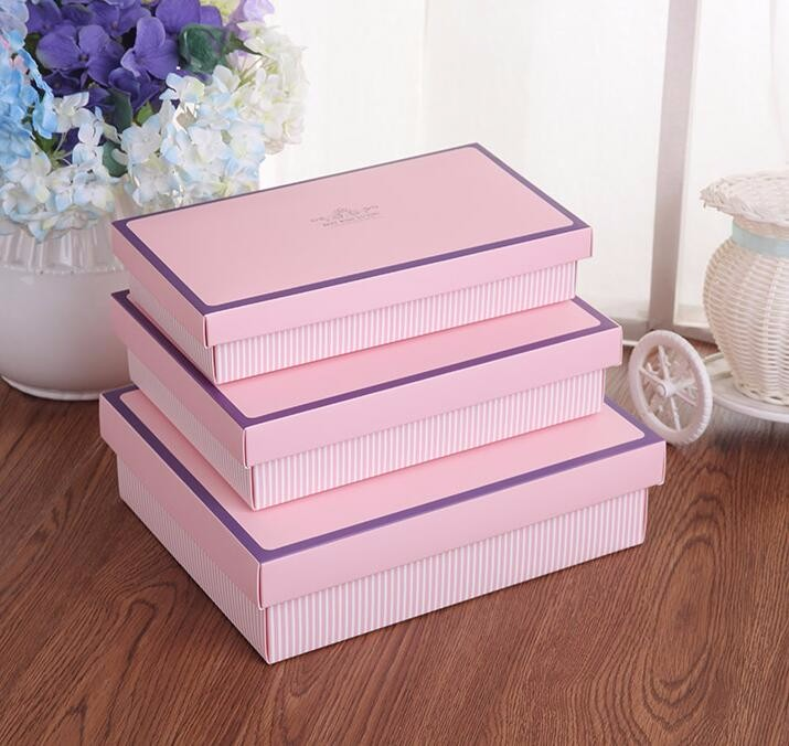 24.3*13.5*4.5cm Large Pink Exquisite socks packaging box and underwear cosmetic packing stripe gift box with lid big ...