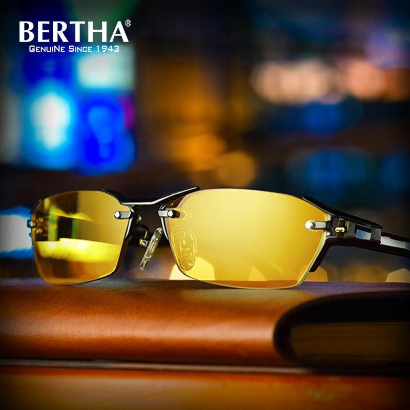Bertha 2018 Titanio Puro + TR90 Occhiali Da Sole Polarizzati Uomini Del Progettista di Marca Occhiali Da Sole Fotocromatiche Uomini Chameleon Scolorimento 1141