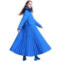 Для женщин модная юбка пуховики зимняя белая утка вниз длинные пуховые пальто 7XL плюс Размеры Макси пуховики